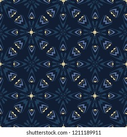 Traditional Indigo Blue Japanese Seamless Vector Pattern. Quilt Grid Ornament Style Hand Drawn Motif Texture for Textile Prints, Classic Japan Decor, Asian Backdrops or Simple  Magical Gift Wrapping