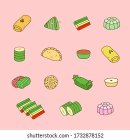 traditional Indonesian food collection vector. jajanan pasar or oriental food elements.