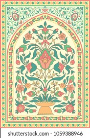 Traditional Islamic floral design. Template for greeting card in oriental style