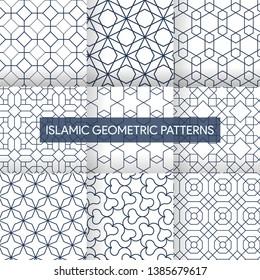 Traditional Islamic Geometric Patterns Backgrounds Set