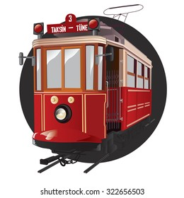 Traditional istanbul tram isolated on white. Vector illustration.