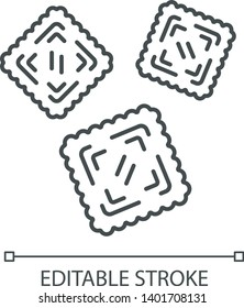 Traditional Italian dish. Mediterranean pasta. Agnolotti. Tortelli. Square dough products with filling. Thin line illustration. Contour symbol. Vector isolated outline drawing. Editable stroke