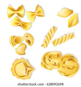 Traditional italian pasta set with fusilli farfalle tortellini fettuccine conchiglie and lumaconi types isolated vector illustration
