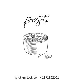 traditional Italian pesto sauce vintage engraving illustration with its name calligraphy