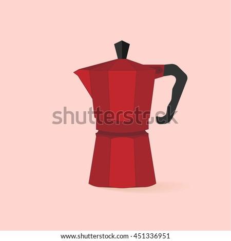 Traditional Italian Style Red Coffee Maker Stock Vektorgrafik