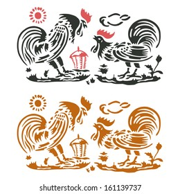 Traditional italian tablecloth decoration with roosters in farm scenery