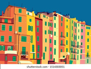 Traditional itallian houses in small village in Liguria, Italy. Handmade drawing vector.