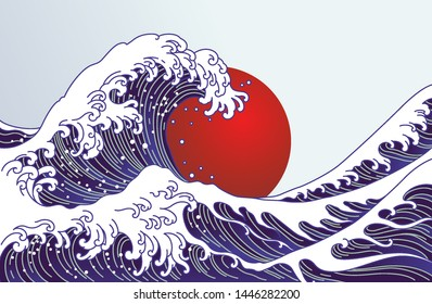 Traditional Japan wave, big red sun illustration. Japan flag design concept. Great Japanese hokusai water and ocean wave vector illustration.