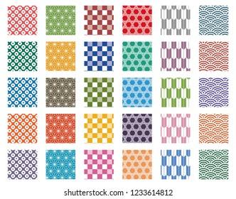 Traditional Japanese background pattern set