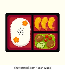 Traditional Japanese bento box lunch with rice, tempura shrimp and vegetables. Vector illustration.