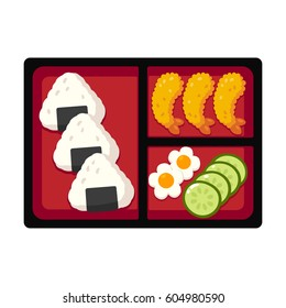 Traditional Japanese bento box lunch with rice onigiri and tempura shrimp, cucumber and egg. Vector illustration.
