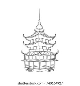 Traditional Japanese, Chinese, Asian pagoda building, contour style vector illustration isolated on white background. Traditional Japanese, Chinese, Asian pagoda building