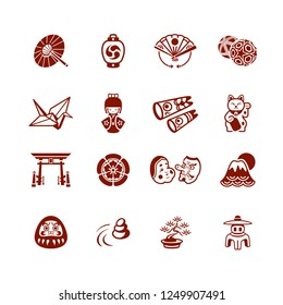 Traditional japanese culture objects micro icon-set