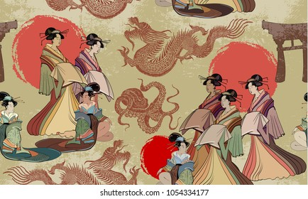 Traditional Japanese culture, red sun, dragons and geisha woman pattern. Japan art. Japanese and Chinese culture seamless pattern