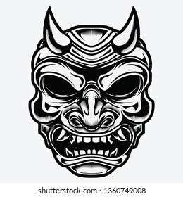Traditional japanese demon mask devil