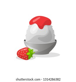 Traditional Japanese dessert kakigori. Ice chips with strawberry syrup. Vector flat illustration on white background.
