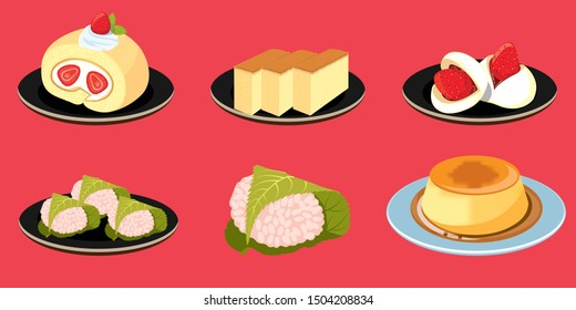 Traditional japanese desserts, sweet dessert set, sweet bakery background