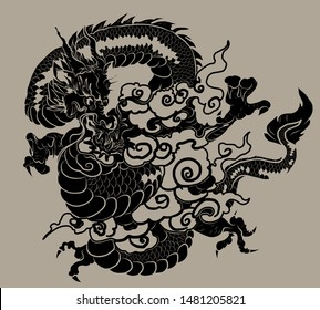 Traditional Japanese dragon for printing and tattoo style on background.Chinese dragon and cloud vector.