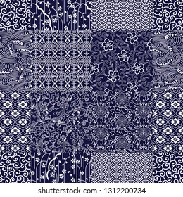 Traditional Japanese fabrics patchwork wallpaper  abstract floral vector seamless pattern on blue background