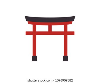 Traditional japanese floating torii gate icon on white background