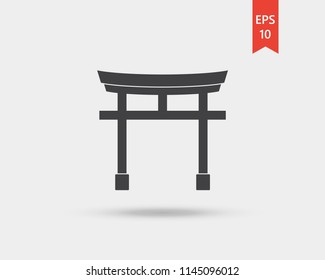 Traditional japanese floating torii gate vector web icon isolated on white background, EPS 10, top view