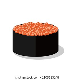 Traditional Japanese food of sushi, delicious Asian cuisine vector cortoon object.