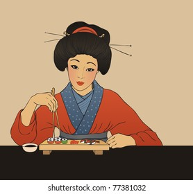 Traditional japanese girl enjoy sushi. Vector illustration.