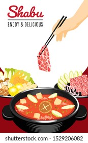 Traditional japanese hot pot, shabu-shabu, sukiyaki, thinly sliced beef and assorted vegetables cooked.