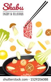 Traditional japanese hot pot, shabu-shabu, sukiyaki, thinly sliced beef and assorted vegetables cooked.