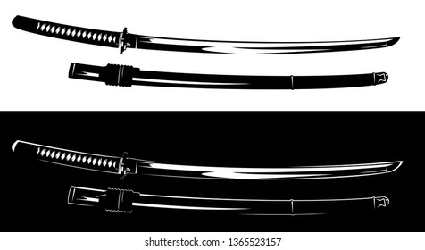 traditional japanese katana blade - samurai sword black and white vector design set