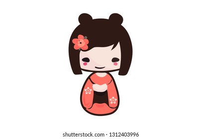 Traditional Japanese Kokeshi doll isolated vector illustration. Kawaii Kokeshi Doll girl souvenir with cute Kimono on.