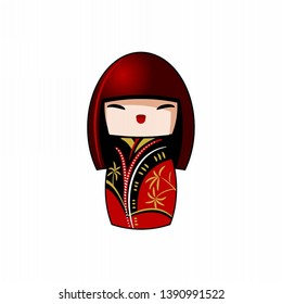 Traditional japanese Kokeshi doll. Stylized vector image