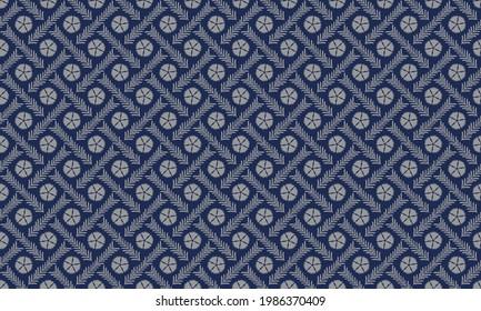 """Traditional Japanese Pattern """"NADESHIKOTASUKI"""" Navy blue Silver color"""