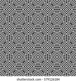 Traditional Japanese pattern of overlapping circles in square layout - seamless editable repeating vector background