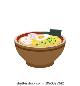 Traditional Japanese ramen soup with noodles and boiled egg isolated flat vector illustration. Bowl of delicious ramen. Street junk food meal. Soup with eggs and fish cake icon. Restaurant cafe sign