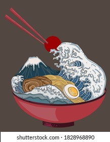 Traditional Japanese ramen and wave for restaurant printing on wallpaper.Ramen vector illustration for doodle art.Fuji moutain and wave on ramen noodle soup.Beautiful line art of hand drawn.