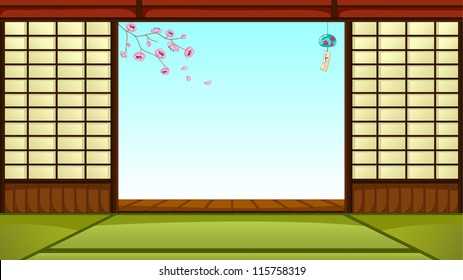 traditional Japanese room with space for text (JPEG available in my gallery)