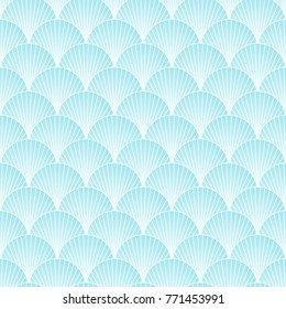 Traditional japanese sea pattern with circles. Mermaid scales. Blue shell. Vector illustration