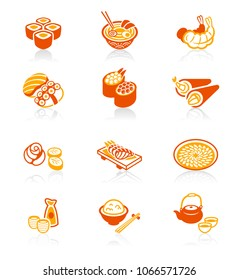 Traditional japanese sushi restaurant food red-orange icon set