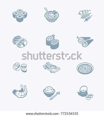 Traditional japanese sushi restaurant food icon set.