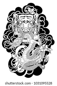 Traditional Japanese tattoo design for back body.Tiger face with old dragon on cloud background.