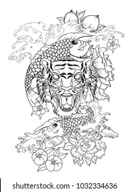 Dragon And Tiger Tattoo Stock Vectors Images Vector Art