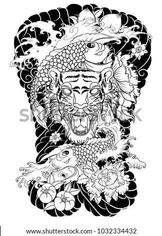 Traditional Japanese Tattoo Design Back Body Tiger Stock Vector