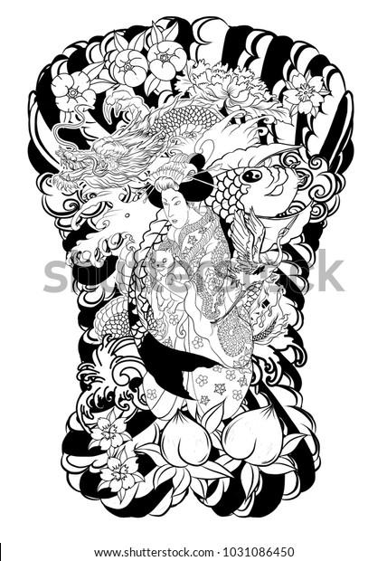 Traditional Japanese Tattoo Design Back Bodyjapanese Stock Vector