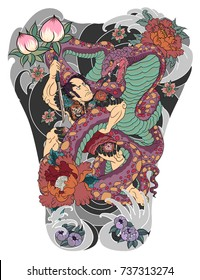 Traditional Japanese tattoo style.Japanese men have tattoo full body with snake.Hand drawn Samurai fighting with Big snake.Samurai Japanese men tattoo.Colorful the man and sword fighting with cobra.