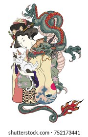Traditional Japanese tattoo style.Japanese women in kimono with her cat and Old dragon.Hand drawn geisha girl and kitten on back tattoo.Old dragon with peony flower and chrysanthemum on background.