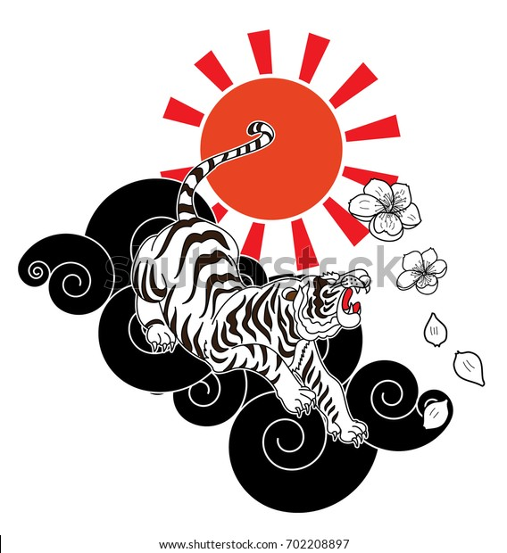 09ae050e1 Traditional Japanese tiger tattoo with sakura flower and Red sun.Tiger  Sticker tattoo design,