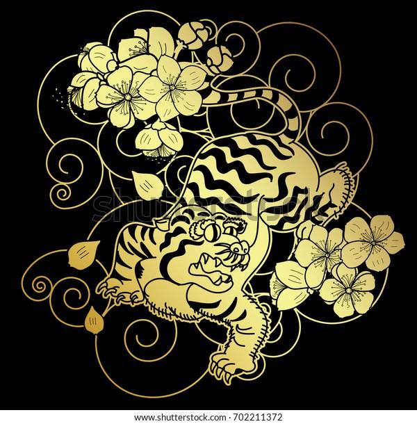 Traditional Japanese Tiger Tattoo Sakura Flower Stock Vector