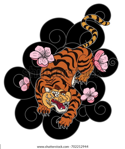 Traditional Japanese Tiger Tattootiger Sticker Tattoo Stock Vector