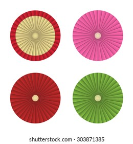 Traditional Japanese umbrella in top view flat style. Isolated vector object on white background.